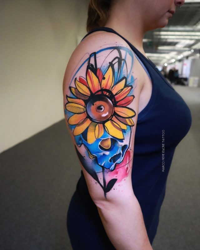Tatouage aquarelle tournesol