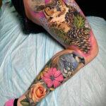 Owl & Blue Jay Full Leg Tattoo