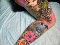 Owl & Blue Jay Full Leg Tattoo