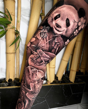 Panda, Frog & Chameleon tattoo