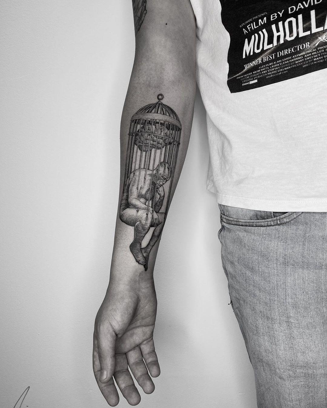 The Thinker Forearm Tattoo