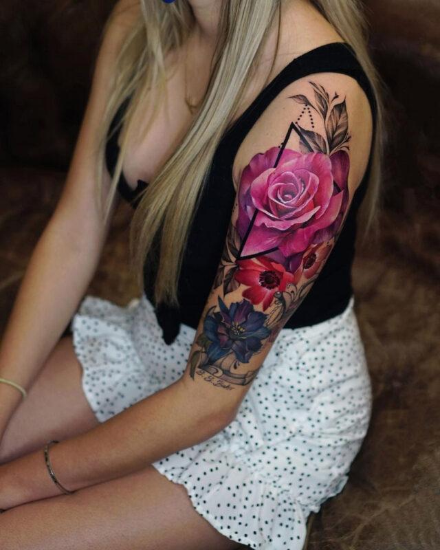 Tatouage Floral Bras