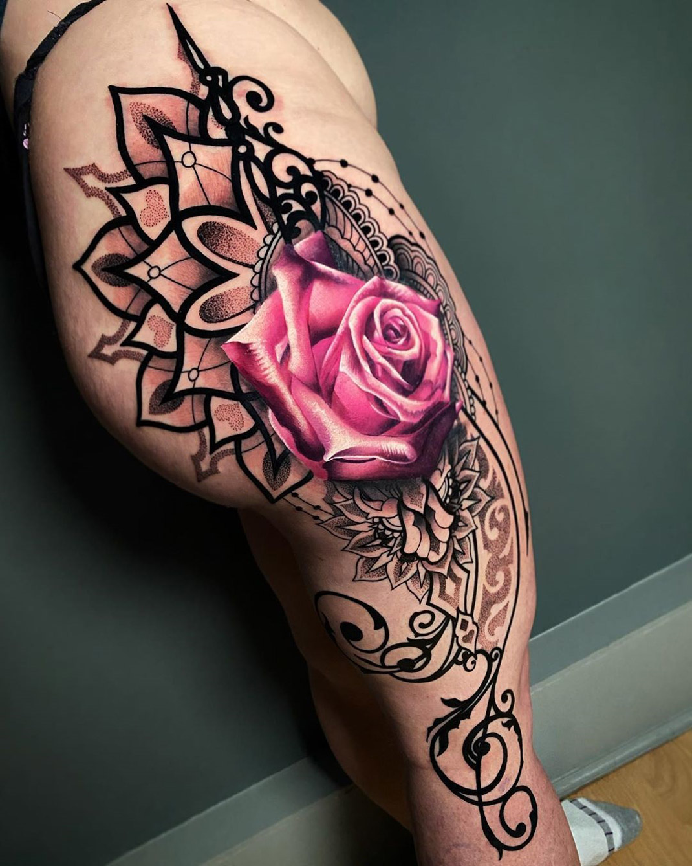 Mandala & Rose leg tattoo