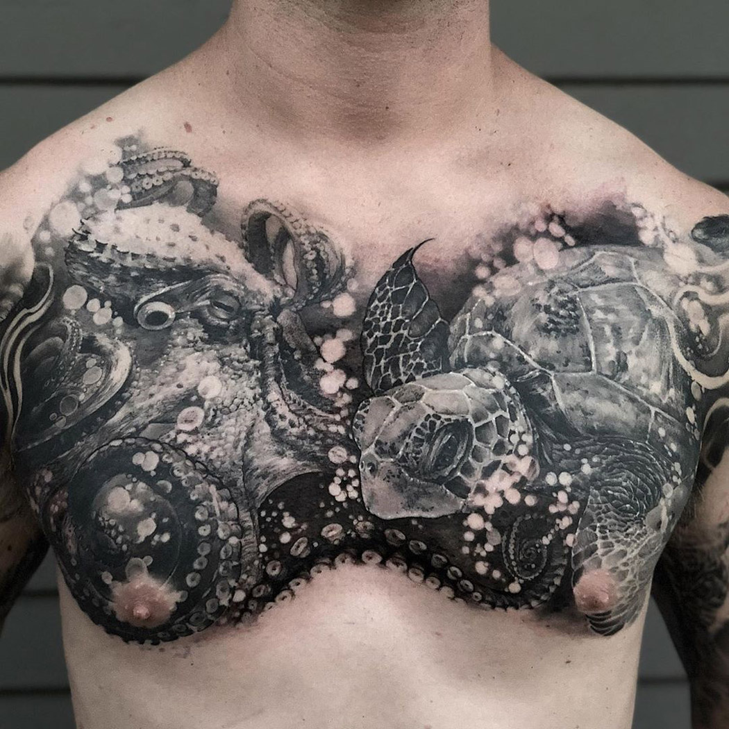 Octopus & Turtle Chest Tattoo