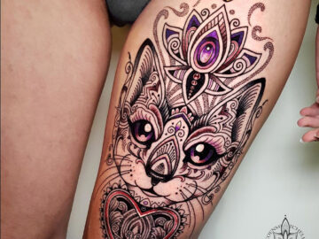 Ornamental Cat Thigh Tattoo