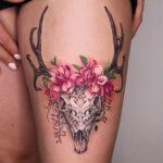 Carved Skull & Pink Flowers
