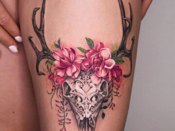 Carved Skull & Pink Flowers