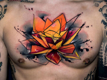 Lotus Flower Chest Tattoo