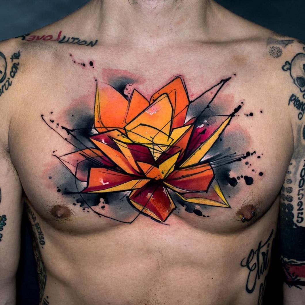Lotus Flower Chest Tattoo
