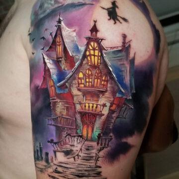 Haunted House Halloween Tattoo