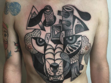 Abstract Wolf Chest Tattoo