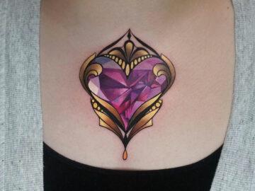 Diamond Heart chest tattoo