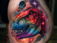 Rainbow T-Rex in Space