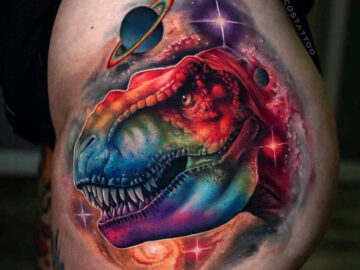 Rainbow T-Rex in Space