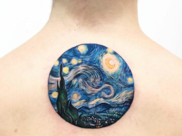 Starry Night back tattoo