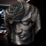 Rose & Sculpture Back Tattoo