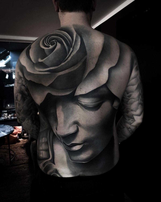 Rose & Sculpture Back Tattoo