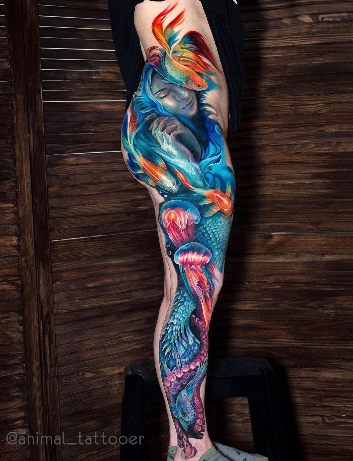 Mermaid Underwater Leg