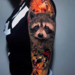 Cute Raccoon with autumn leaves