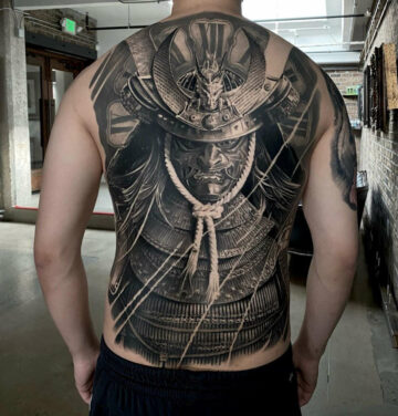 Samurai Full Back Tattoo