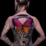 Butterfly Portrait Back Tattoo