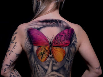 Butterfly Portrait Back Tattoo