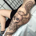 Snake, Flowers & Ornamental Skull
