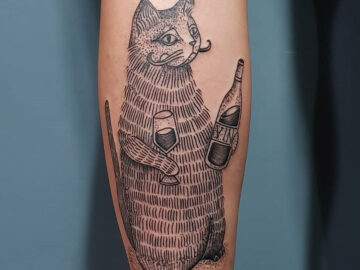 Cat Drinking Wine
