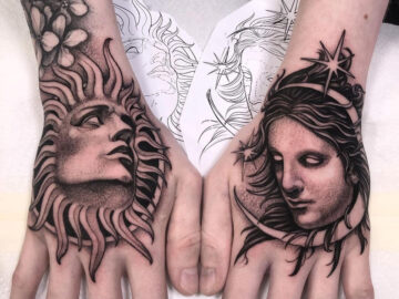 Sun & Moon Hand Tattoos