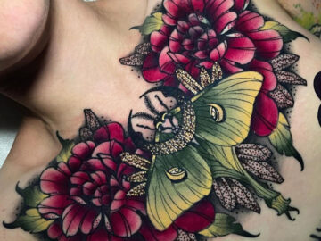 Luna moth and moon chest tattoo