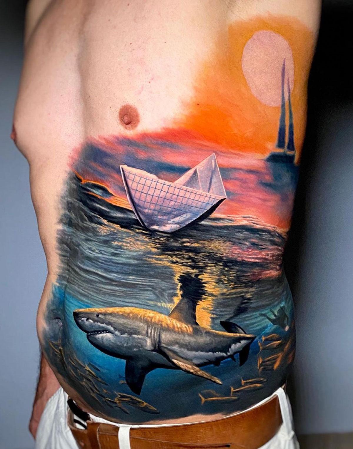 Shark and boats