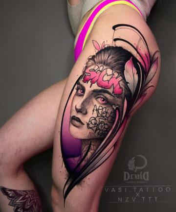 Portrait thigh with graffiti