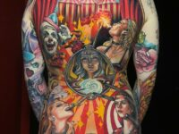 Circus Themed Back Tattoo