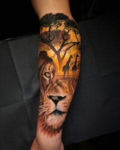 Afrique Tatouage Lion & Girafe