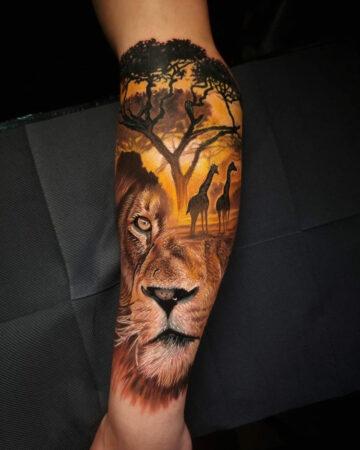 Africa Tattoo Lion & Giraffe