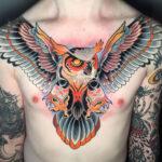 Men's Owl Chest Tattoo