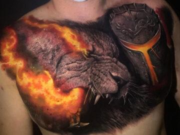 Lion Fire Chest Tattoo