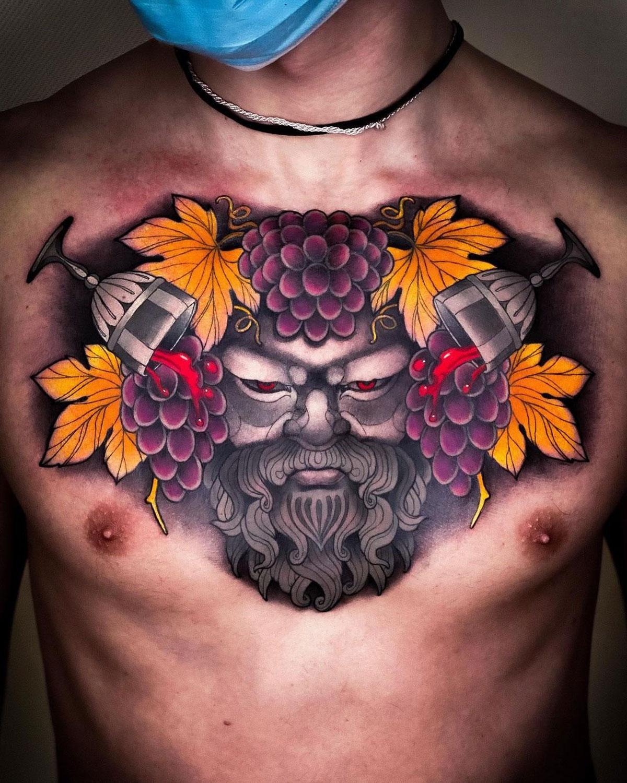 Bacchus Chest Tattoo